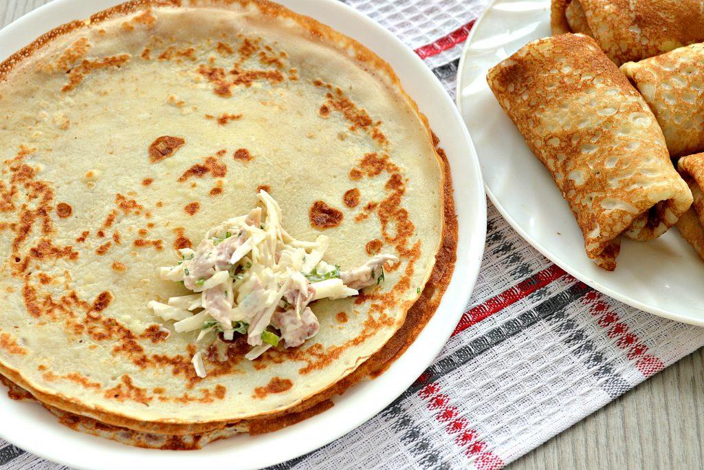 Фото рецепта - Блинчики, фаршированные сыром и курицей - шаг 6