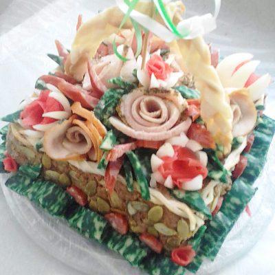 Мясной торт-корзинка ко дню рождения с фаршем и грибами - рецепт с фото