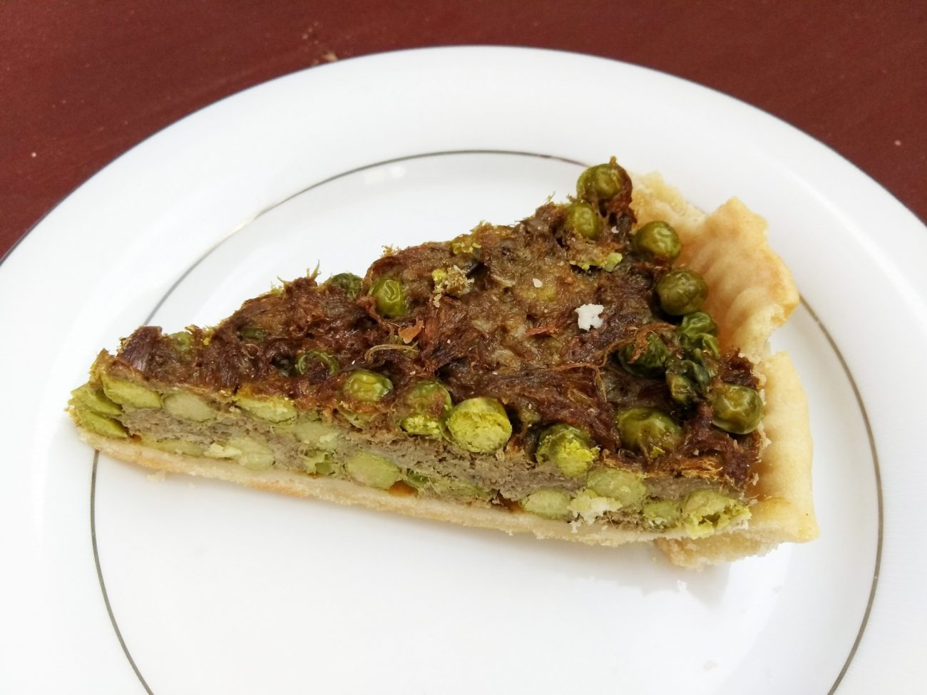 Пирог Киш с зеленым горошком и свининой