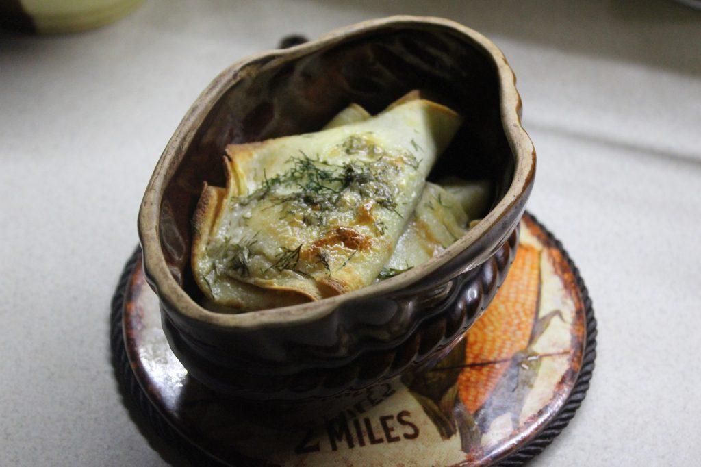 Фото рецепта - Запеченные блины с грибами и луком - шаг 9