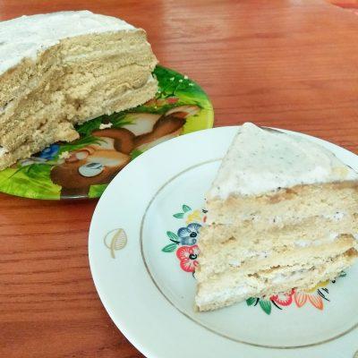 Быстрый кофейный торт с на молоке со сметанным кремом - рецепт с фото
