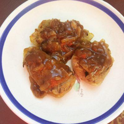 Перец болгарский, фаршированный картошкой и лесными грибами - рецепт с фото
