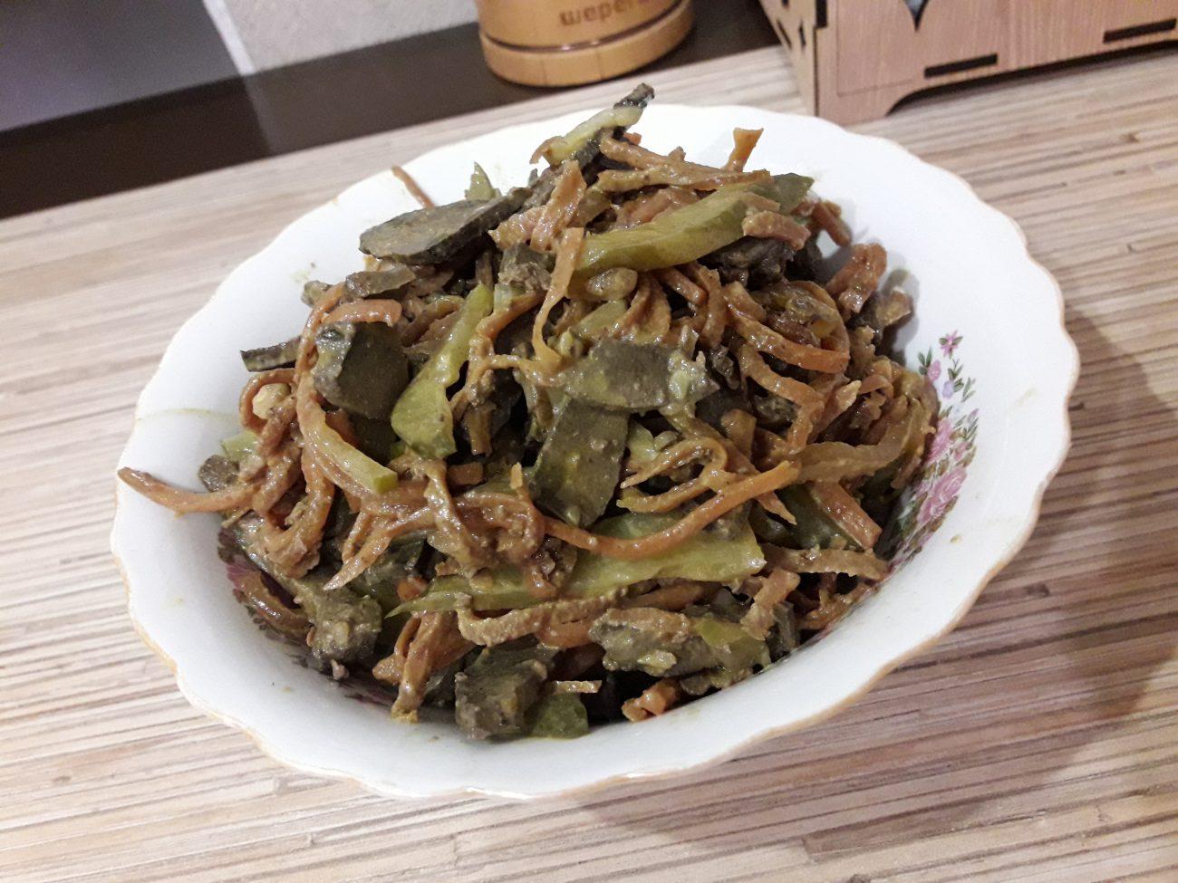 Салат с печенью и солеными огурцами - рецепт пошаговый с фото