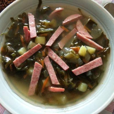 Картофельный суп с маринованными огурцами и морской капустой - рецепт с фото