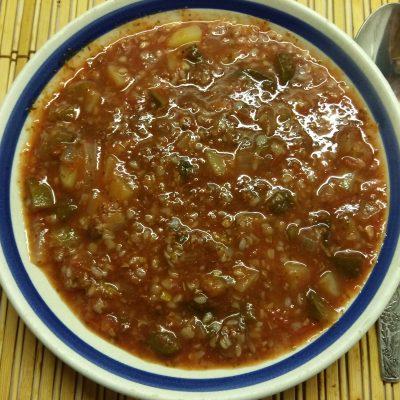 Томатный суп с солеными огурцами и гречкой - рецепт с фото