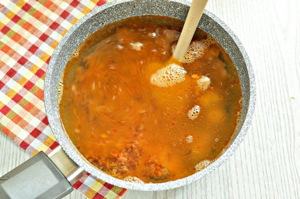 Фото рецепта - Гречка по-купечески с мясным фаршем - шаг 5