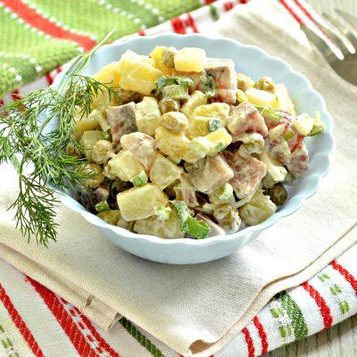 Рыбный салат с картофелем и зеленым горошком - рецепт с фото