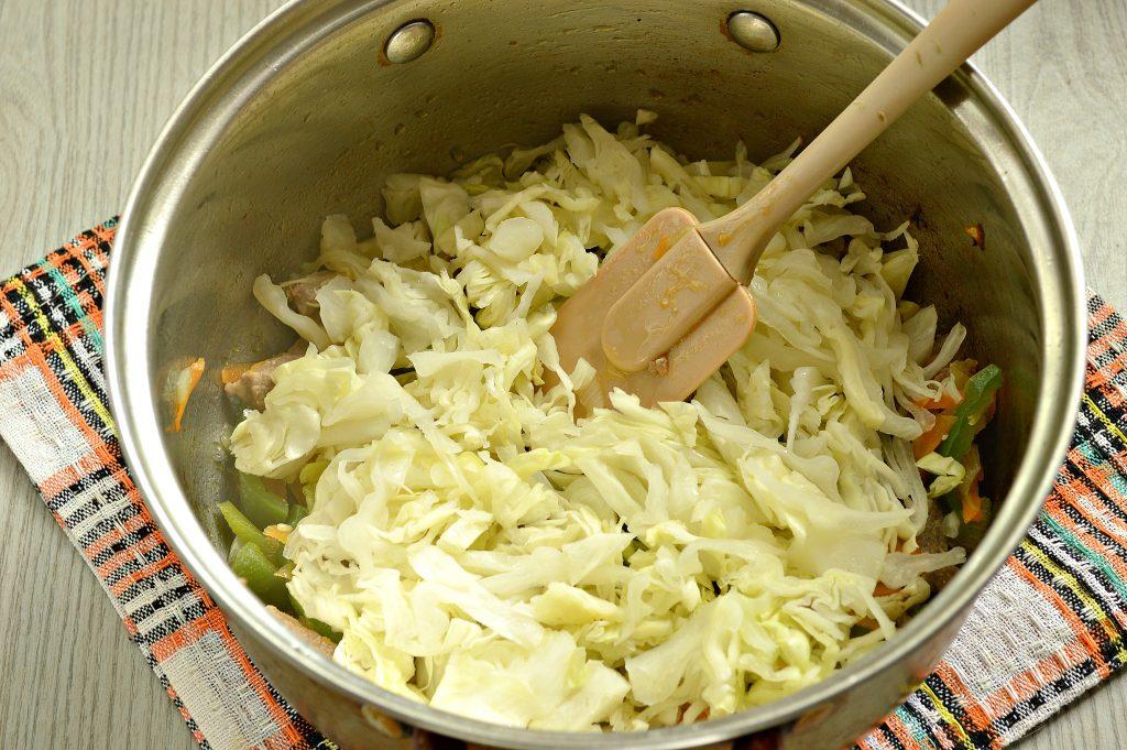 Фото рецепта - Свинина, тушенная с картофелем, болгарским перцем и капустой - шаг 4