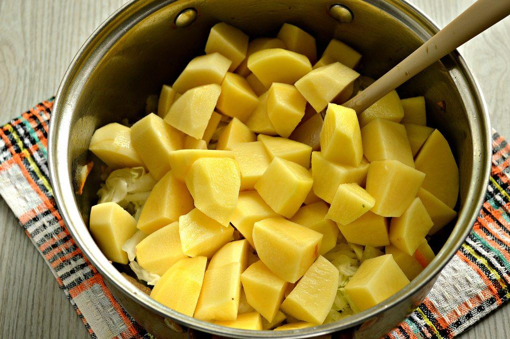 Фото рецепта - Свинина, тушенная с картофелем, болгарским перцем и капустой - шаг 5