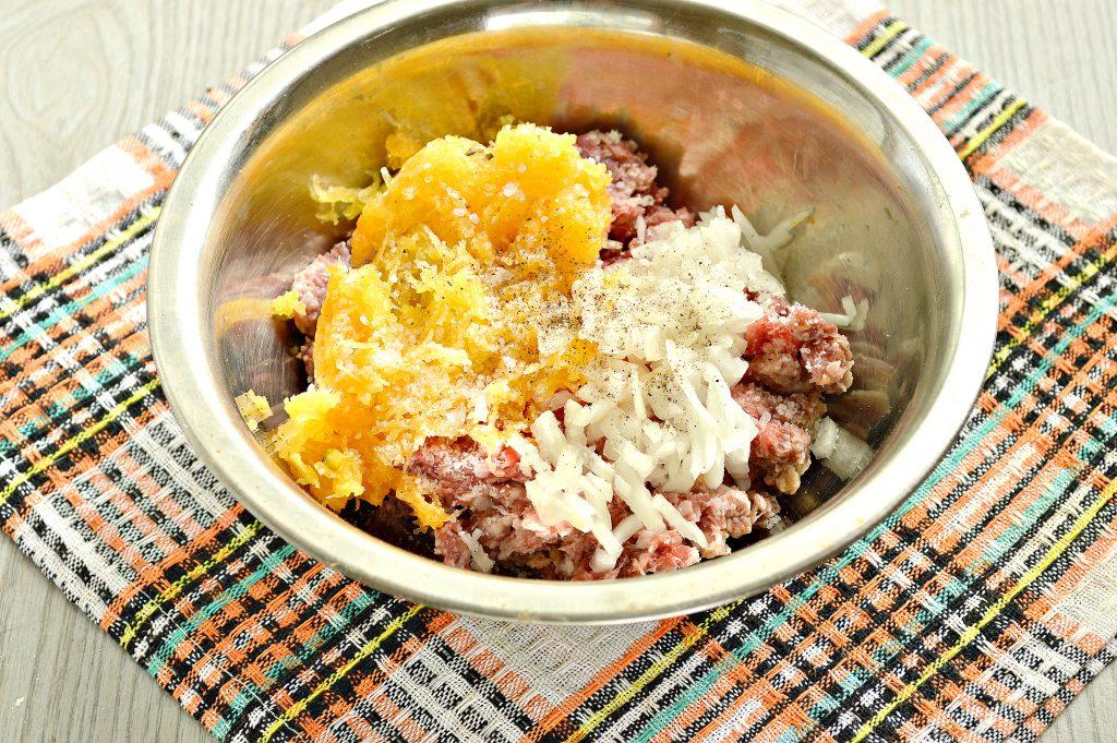 Фото рецепта - Манты с мясным фаршем и тыквой - шаг 2
