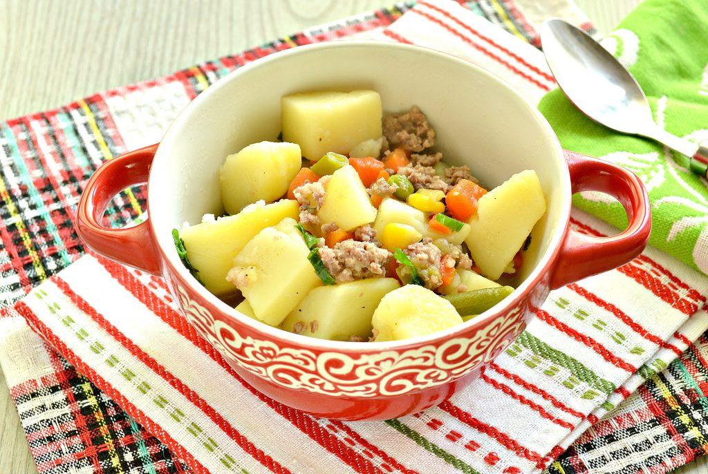 Фото рецепта - Картофель, тушенный с мексиканской овощной смесью и фаршем - шаг 6
