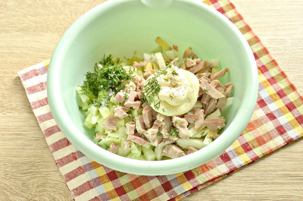 Фото рецепта - Мясной салат с индейкой в тарталетках - шаг 4