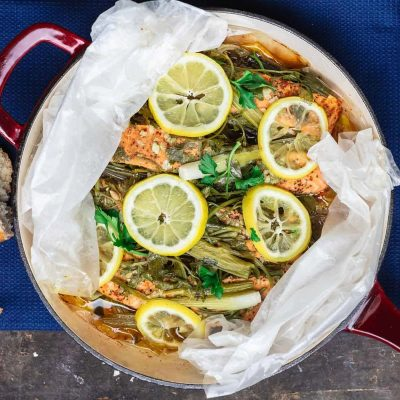 Лосось на пару с лимоном  и травами - рецепт с фото