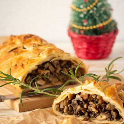 Постный пирог с грибами, чечевицей и орехами - рецепт с фото