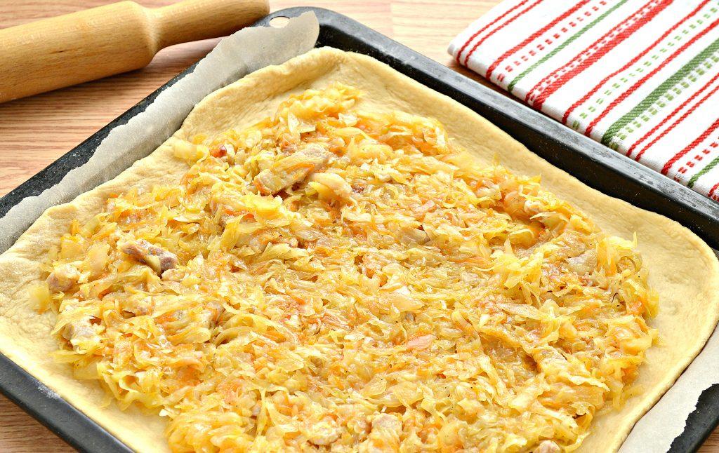 Фото рецепта - Дрожжевой пирог со свининой и капустой - шаг 4