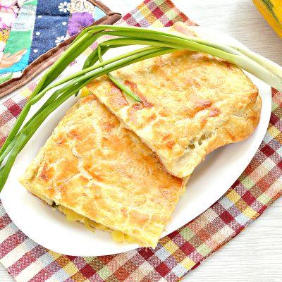 Пирог из слоеного теста с картошкой, кабачком, зеленым луком - рецепт с фото