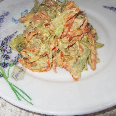 Салат с мясом и маринованным огурцом - рецепт с фото