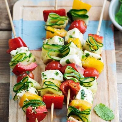 Закусочный шашлычок из овощей с сыром - рецепт с фото