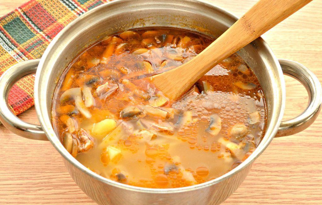 Фото рецепта - Домашние щи со свининой и грибами - шаг 8