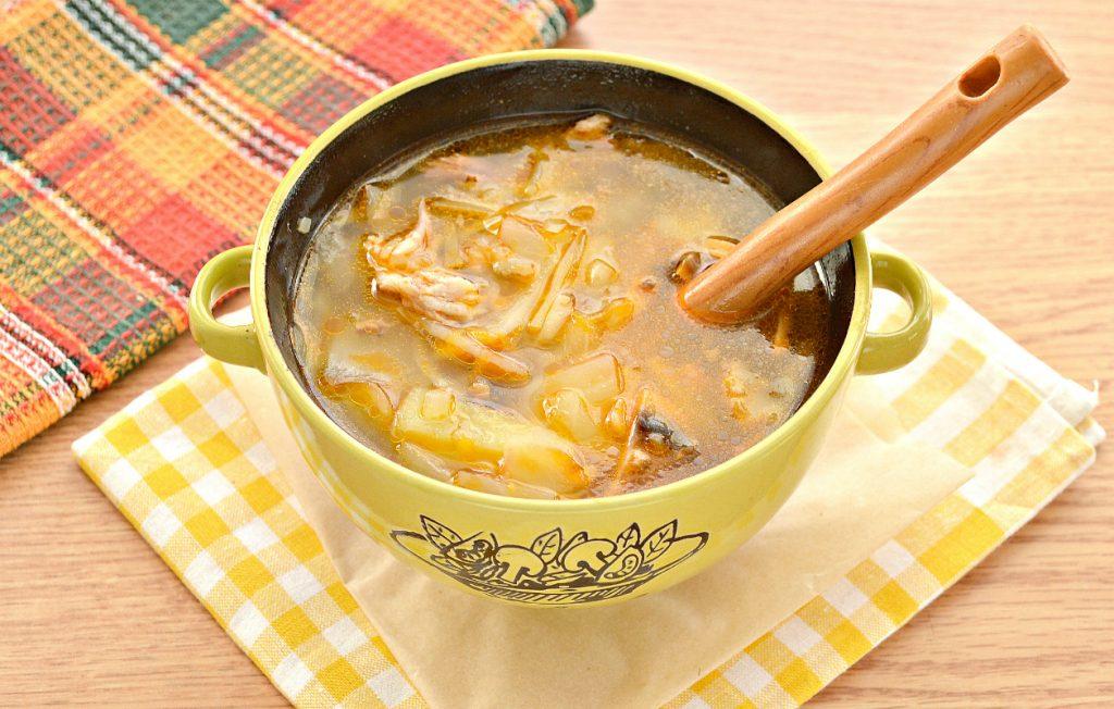 Фото рецепта - Домашние щи со свининой и грибами - шаг 9