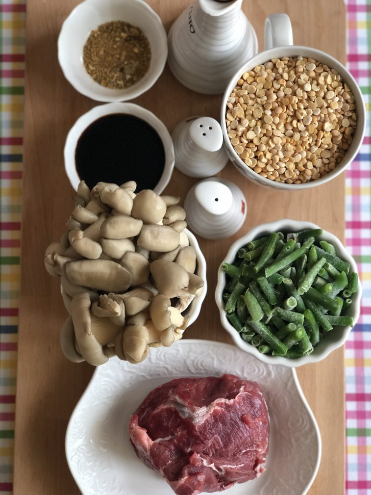 Фото рецепта - Говядина с овощами, грибами и гороховым пюре - шаг 1