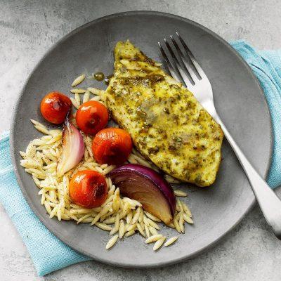 Запеченная рыба с соусом Песто - рецепт с фото
