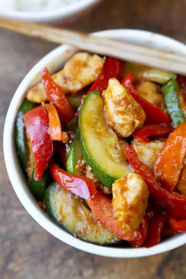 Жаркое из курицы с овощами на сковороде