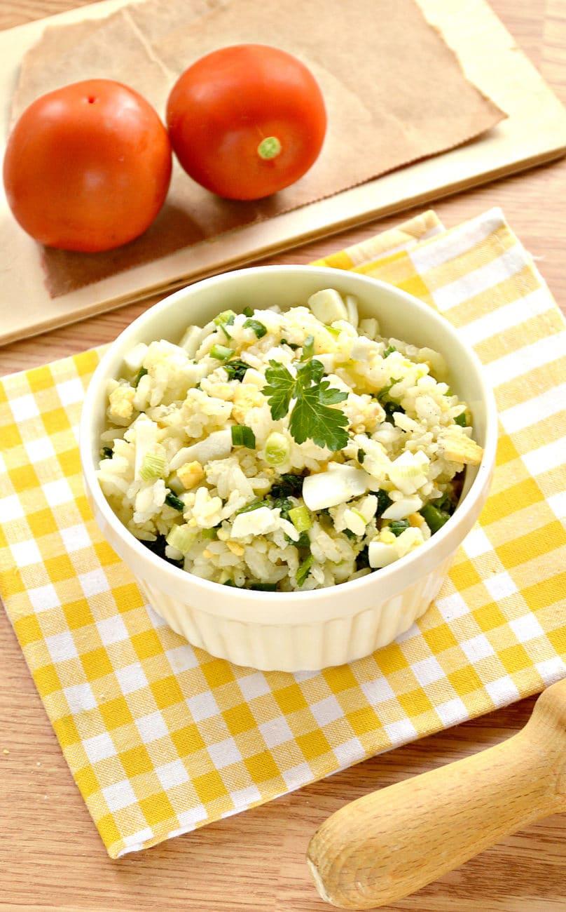 Рис с яйцом и луком (начинка для пирожков)