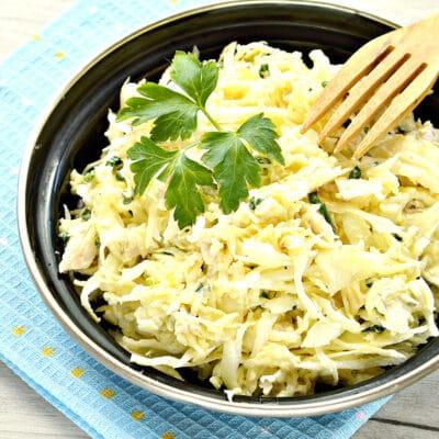 Куриный салат с сыром и капустой - рецепт с фото