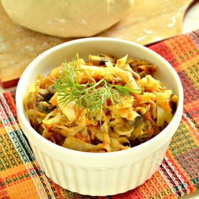 Тушеная капуста с фаршем и грибами (начинка для пирогов) - рецепт с фото