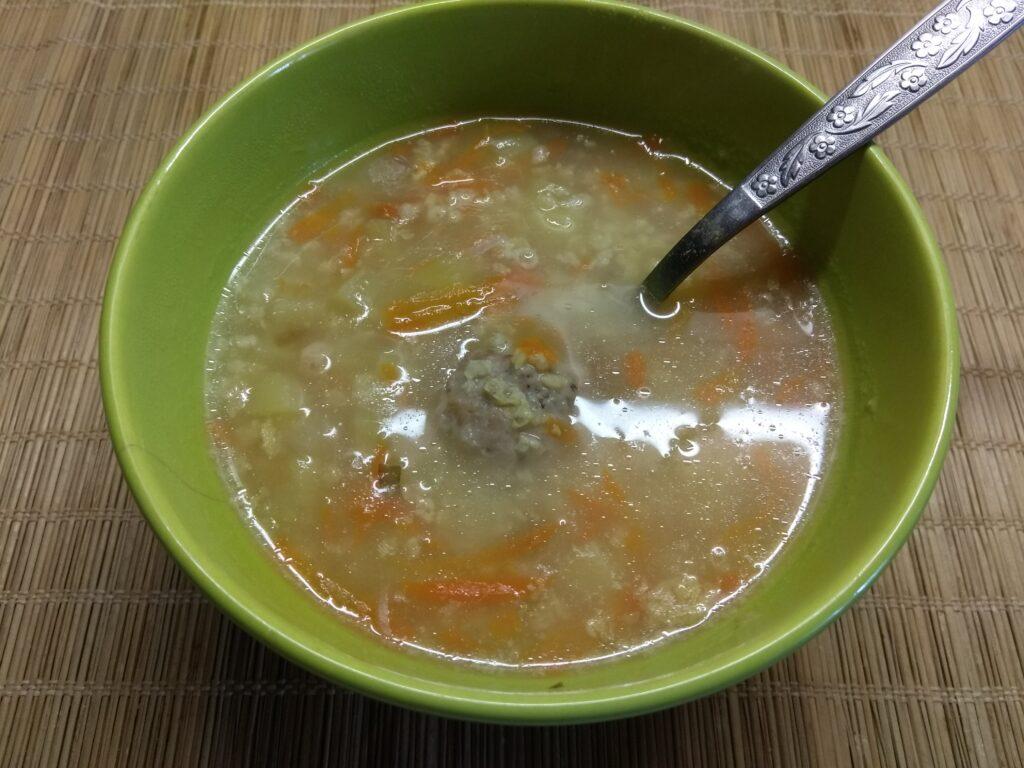 Фото рецепта - Суп с фрикадельками и пшённой крупой - шаг 5
