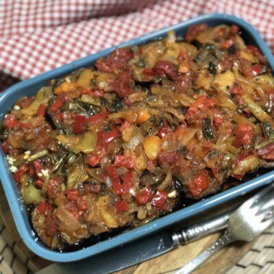 Соте из баклажанов, перца и томатов - рецепт с фото