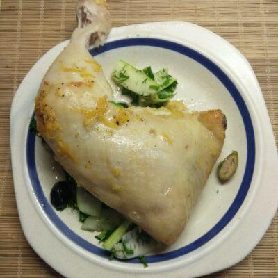 Куриная четверть в апельсиновом маринаде с горчицей, запеченная в рукаве - рецепт с фото