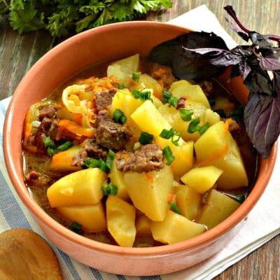 Картофель тушёный в мультиварке с овощами и говядиной - рецепт с фото