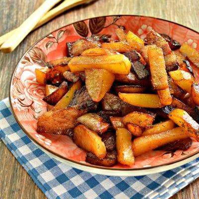 Жареный картофель с салом в мультиварке - рецепт с фото