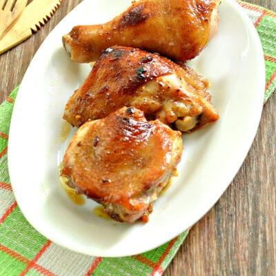 Курица в медовом чесночном маринаде в духовке - рецепт с фото