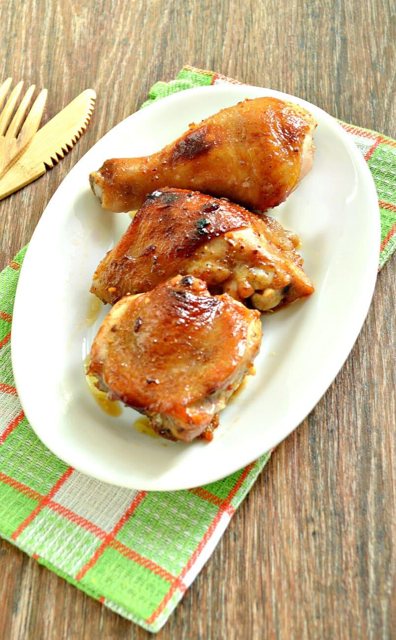 Курица в медовом чесночном маринаде в духовке