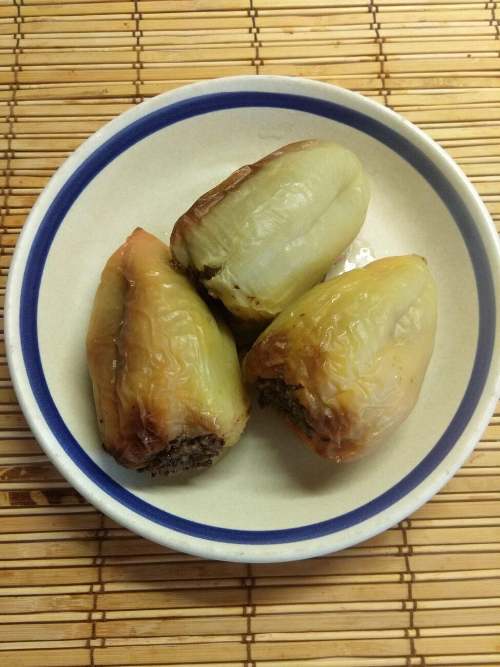 Перец, фаршированный гречкой и куриной печенью