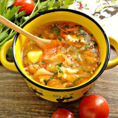 Щи с курицей, капустой и помидорами - рецепт с фото
