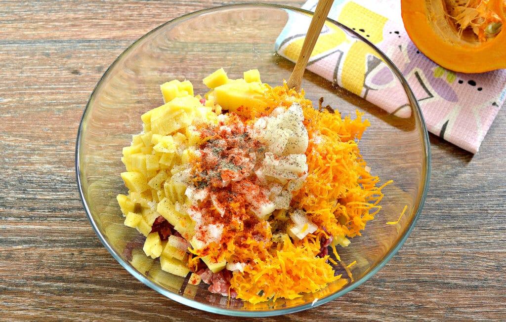 Фото рецепта - Начинка для мантов с фаршем, тыквой и картофелем - шаг 5