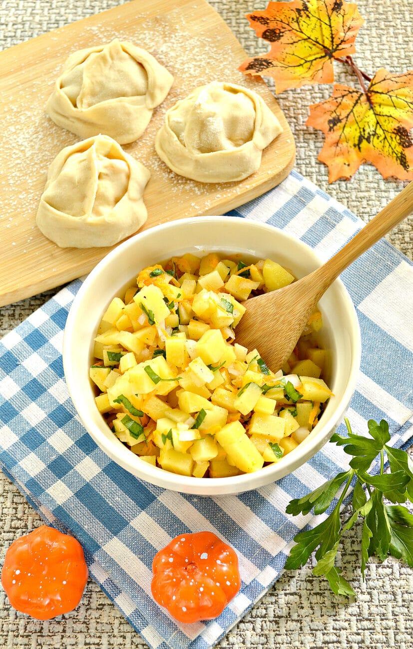 Начинка для мантов с картофелем и тыквой