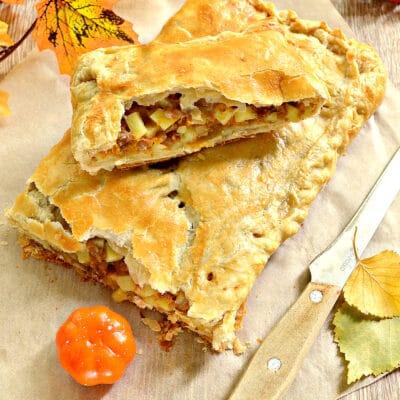 Пирог из слоеного теста с фаршем, картофелем и тыквой - рецепт с фото