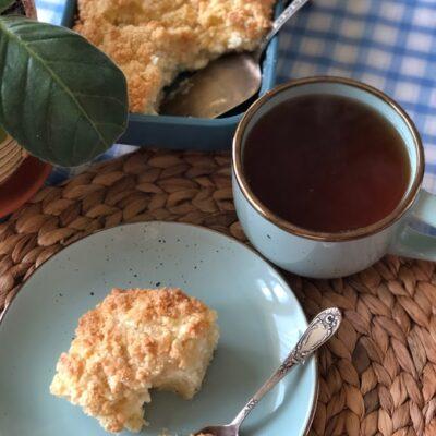 Насыпной пирог на сметане с творогом - рецепт с фото