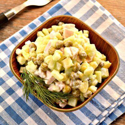 Салат с копченой курицей и зеленым горошком - рецепт с фото