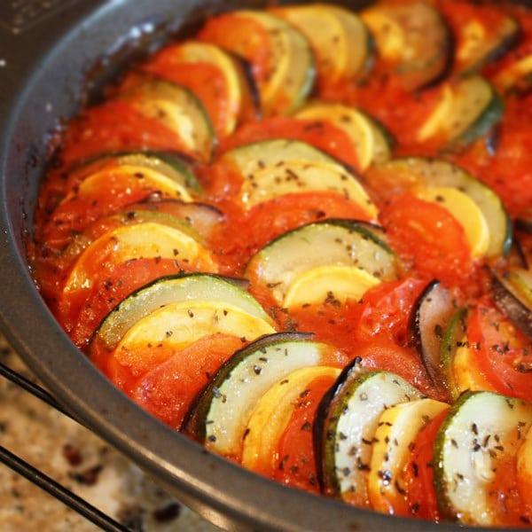 Рататуй из кабачков, баклажанов и томатов