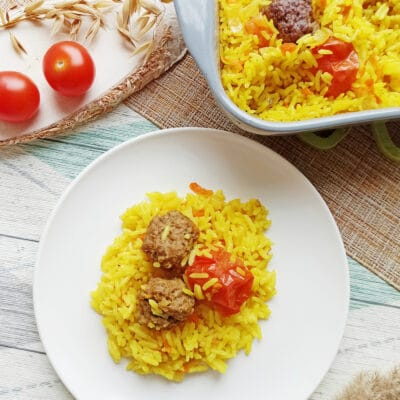 Рис с тефтелями в духовке - рецепт с фото
