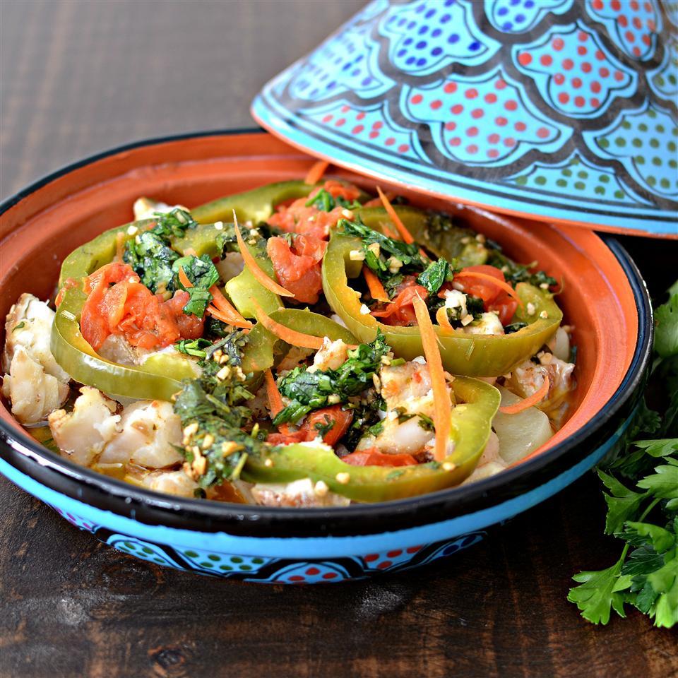 Рыбный тажин с овощами по-мароккански