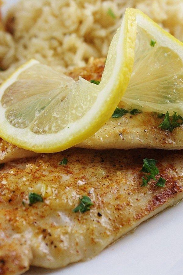 Запеченная белая рыба в лимонном соусе