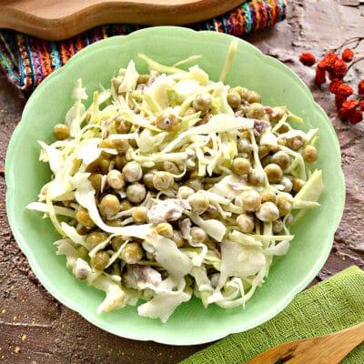 Мясной салат с капустой и горошком - рецепт с фото