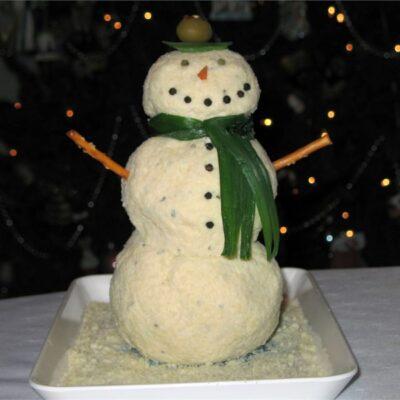 Сырные шарики в образе Снеговика (закуска) - рецепт с фото